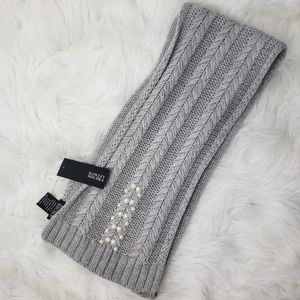 Badgley Mischka Grey Knit Scarf with Pearl details